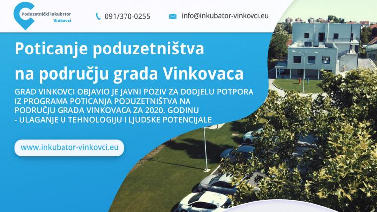Javni poziv za dodjelu potpora iz programa poticanja poduzetništva na području grada Vinkovaca za 2020. godinu